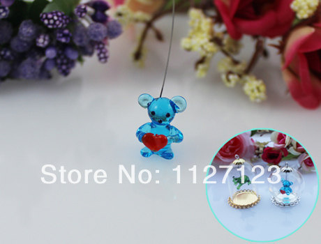 30pcs 15x10MM Love Bear With Hanging Iron Wire For Jewelry Necklace Making,Wishing bottle findings,glass globe terrarium(China (Mainland))
