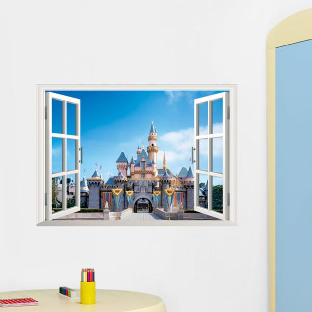 Принцесса замок 3D окно съемный стикер стены наклейки на стены дети детские декор росписи искусства W010