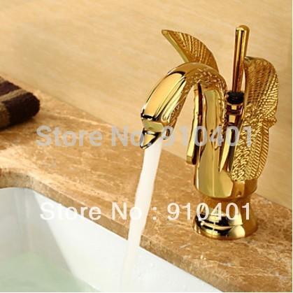 Swan Design Centerset Bathroom Basin Sink Faucet Brass mixer Swivel handle(Ti-PVD Finish)(China (Mainland))