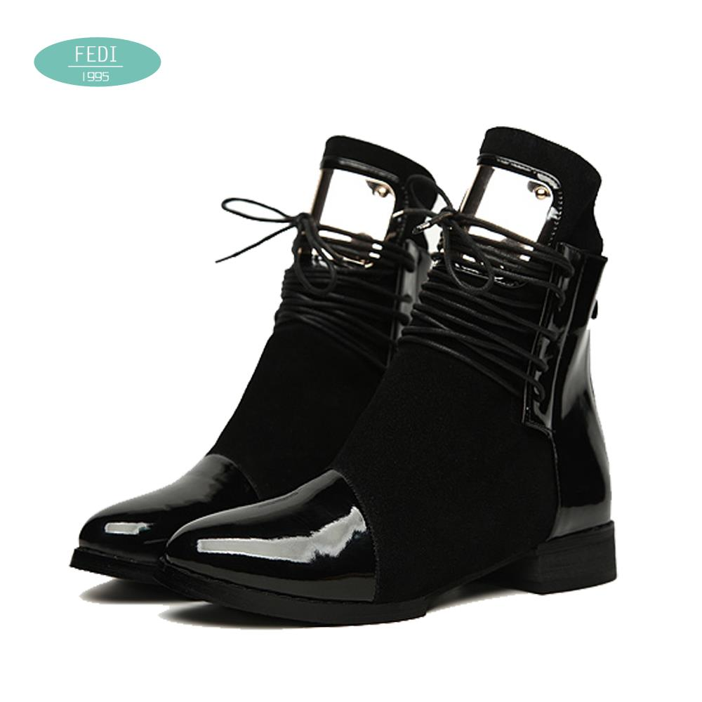36-43 Women Boots Genuine Leather Flat Martin Ankle Boots Womens Motorcycle Boots Autumn Shoes Women Winter Patent leather Botas(China (Mainland))