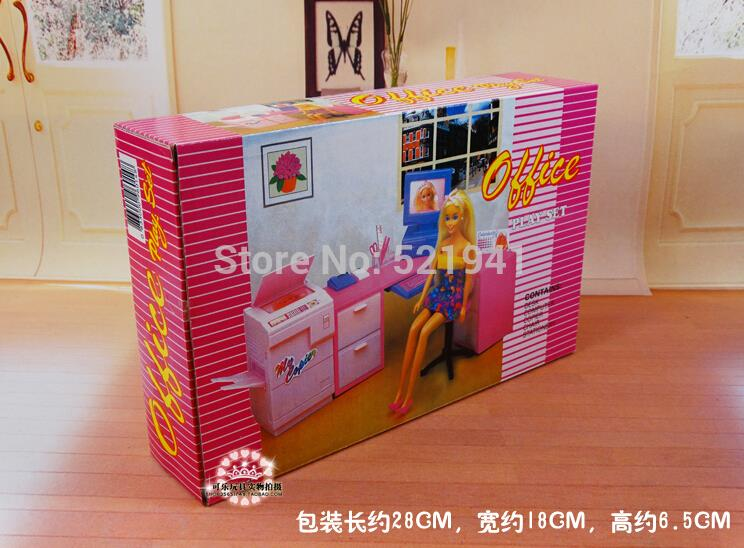 free shipping diy office computer desk combination copier for barbie dolldoll furniture doll barbie doll furniture diy