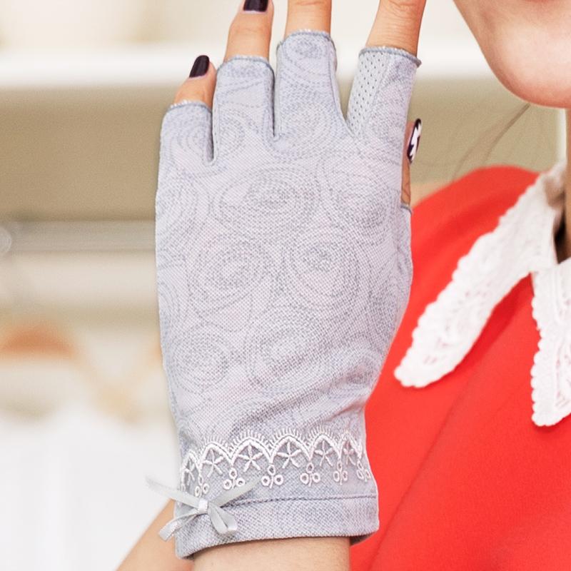 Thin cotton womens fingerless gloves summer sunscreen gloves ultraviolet half-finger driving gloves luvas motociclista UV5622-1(China (Mainland))