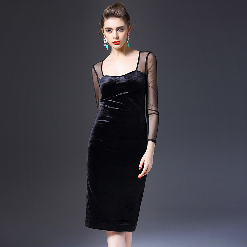 The new spring and summer 2016 Europe square neck perspective jinsirong slim package hip dress brand agent Q6386