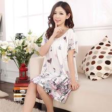 Xia Shuiyi modal loose XL fat Nightgown Pajamas clothing Home Furnishing lovely princess pregnant women(China (Mainland))