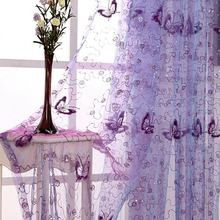 Pink Curtains butterfly decor Purple Embroidered Curtains Screening Sheering Tulle Curtain For Living Room Red Tulle wp344#30(China)