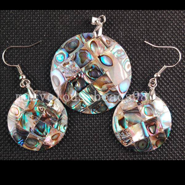 Free Shipping Beautiful jewelry New Zealand Abalone Shell Round Dangle Earring Pendant Set MC3252(China (Mainland))