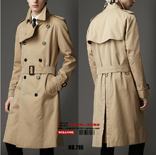 S-5XL HOT !! spring autumn plus size long trench coat outerwear men's fashion design long slim double breasted overcoat (China (Mainland))