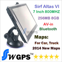HD 7 inch GPS navigation with SIRF Atlas VI 800MHZ + Windows CE 6.0+ Bluetooth+ AV-IN+256MB DDR3+8GB flashroom