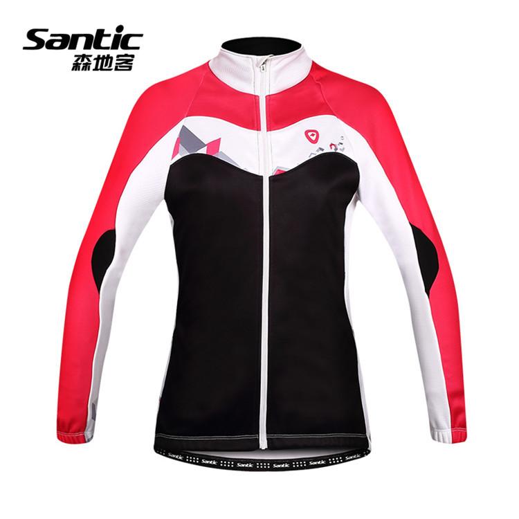 Фотография Santic Cycling Thermal Jersey Women Cycling Jersey Spring Cycling Clothing Full Sleeve Bike Bicycle Jersey Sportswear Jacket