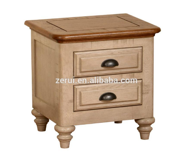 Solid wood oak furniture antique white 2 drawer bedside cabinet(China (Mainland))