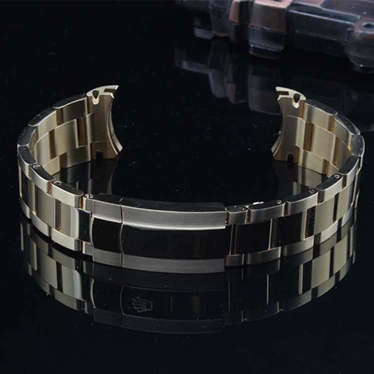 20mm Hot Sell New Man Woman Silver Gold Polished Shine Brushed Solid Stainless Steel Curved End WatchBand Strap Bracelet Belt