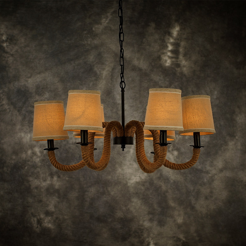 Restaurant Bar Cafe Iron rope Pendant Lights country retro creative personality lighting industry ZA