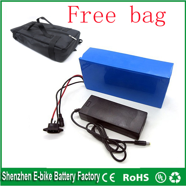 Free battery bag BMS 48v 10ah lithium ion ebike battery pvc case bicycle electric bike battery 48v 500w 750w with charger(China (Mainland))