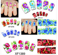 Fashion 50 sheets Water Transfer Nails Art Sticker Flowers Design Full Cover Tip Wraps Decals Manicure Decoration Beauty Tools
