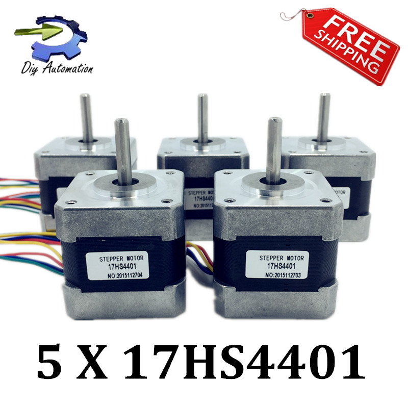 CE certification 5pcs 4-lead Nema17 Stepper Motor 42 motor Nema 17 motor 42BYGH 1.7A (17HS4401) 3D printer motor and CNC XYZ(China (Mainland))