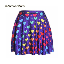 New Arrival Women's Skirt Colorful of Love Digital Printed Sexy Stretch High Waist Flared Pleated Mini Skirts Drop Shipping