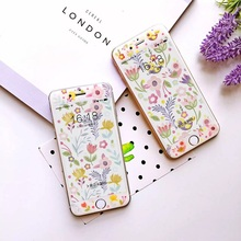 Hot Sale Rushed Fashion Tempered Film Anti-knock Cute Flower And Bird Elegant Girl 3d Screen Protector For Iphones 6s 6plus