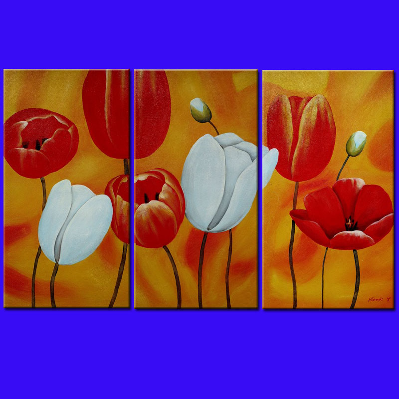 Hand Painted Abstract Oil Painting Flower Painting Red Tulip 3 Piece Wall Art Home Decoration Wall Art Home Decoration Items(China (Mainland))