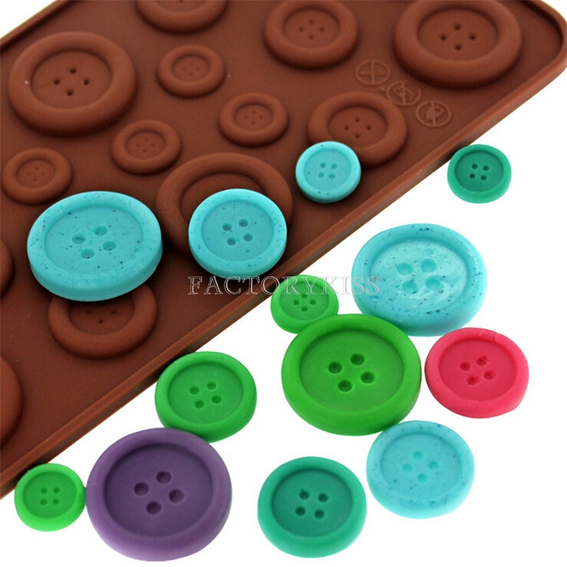 Lovely Design Cake Cookie Fondant Chocolate Silicone Gel Mold Mould Baking Tray Button Shape Cake Decoration Mould(China (Mainland))