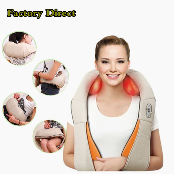 HOT Free shipping!U Shape Electrical Shiatsu Back Neck Shoulder Massager EU plug and flat plug(China (Mainland))