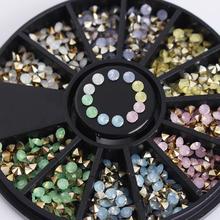 1 Box Colorful Sharp Bottom Rhinestone 3D Nail Decoration 2.5mm Opal Decoration In Wheel Manicure Nail Art Decoration(China (Mainland))
