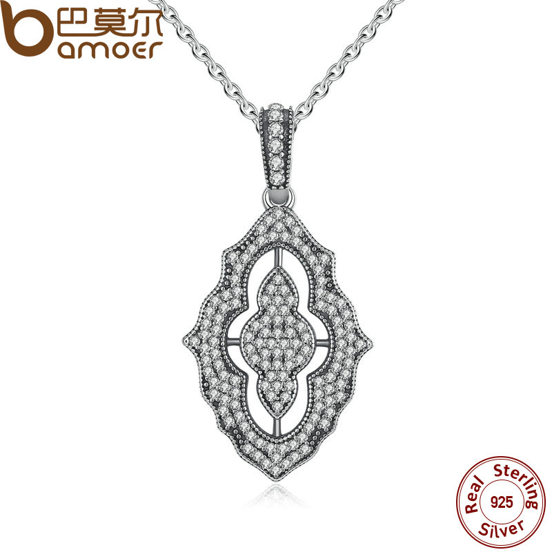 BAMOER Authentic 925 Sterling Silver Sparkling Lace Pendant Necklace, Clear CZ Pendant Necklace for Women Fine Jewelry PSN001(China (Mainland))
