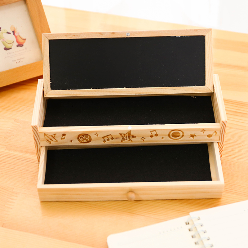 2016 Multifunctional Wooden School Pencil Box Pen Case Vintage Stationery Holder papelaria escolar Wooden Pencil Box Baby Gift(China (Mainland))