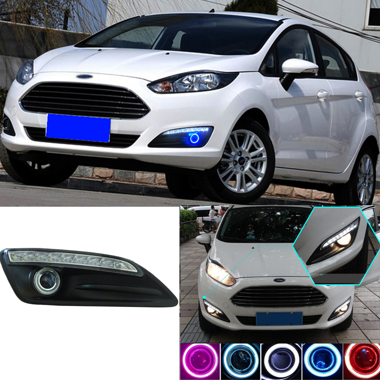 Brand New High Quality Superb LED COB Angel Eyes+HID Lamp Projector Lens Foglights For  Ford Fiesta<br>