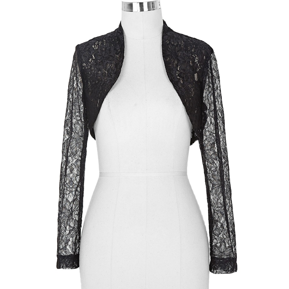 Pics Photos - Elegant Long Sleeve Black Lace Bolero Jacket Regular And ...