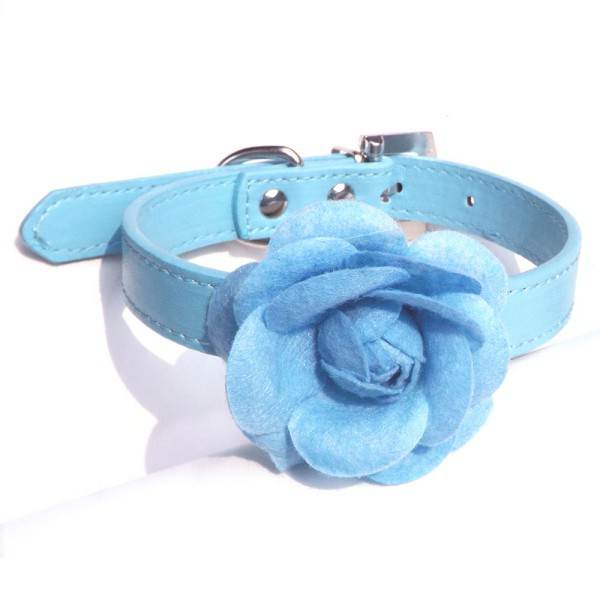 Small Dogs Collar Big Flower Leather Pet Puppy Cat Choker Necklace XS S M L(China (Mainland))