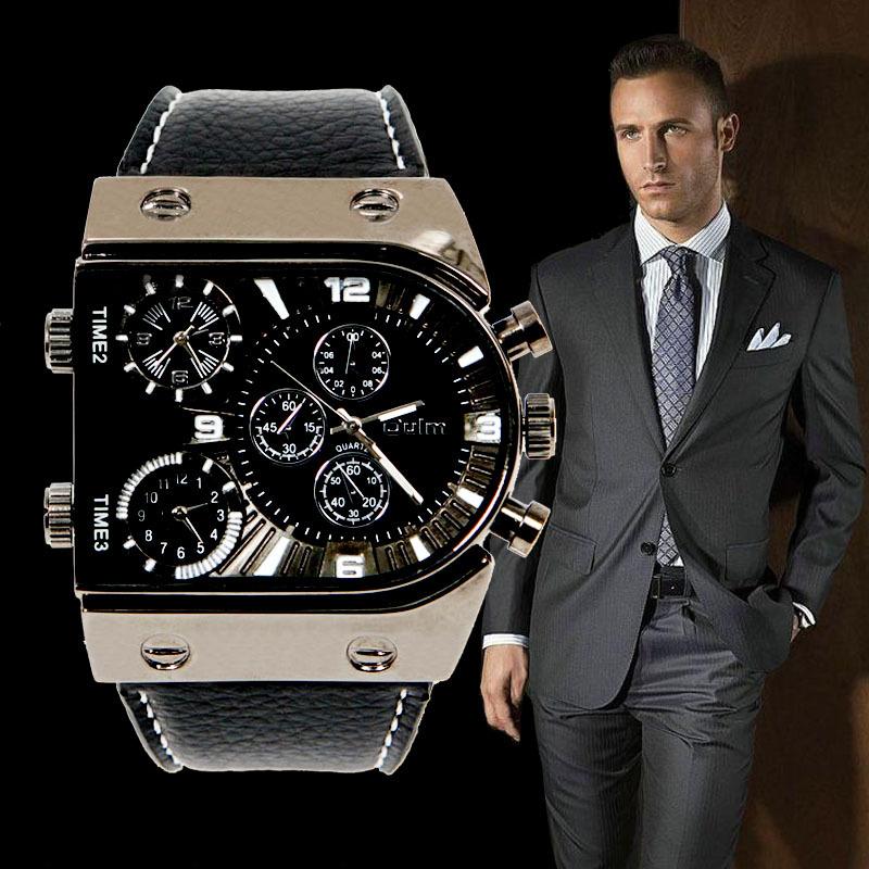 2015 Quartz Wrist Watch 3 Time Zone Top Brand Big Dial Leather Strap Sports Watches L05448