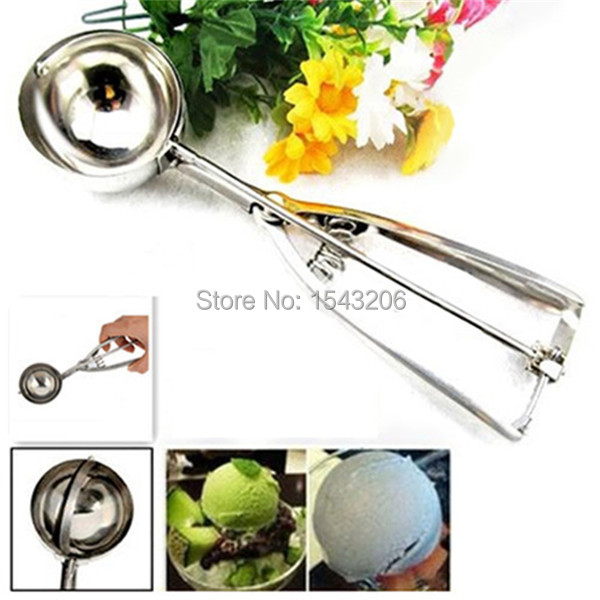 5cm Stainless Steel Ice Cream Scoop Cookie Spoon Spring Handle Kitchen Tools(China (Mainland))