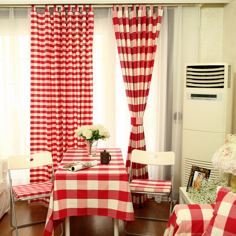 Modern Country Style Cloth Curtian Red Plaid Shade Cloth Curtains Thicken COTTON&LINEN Curtain For Living Room Bedroom(China (Mainland))