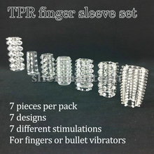 (100 sets / lot) 7 pieces finger sex attachment rubber sleeve sex toys for mini vibrator bullet and dildos(China (Mainland))