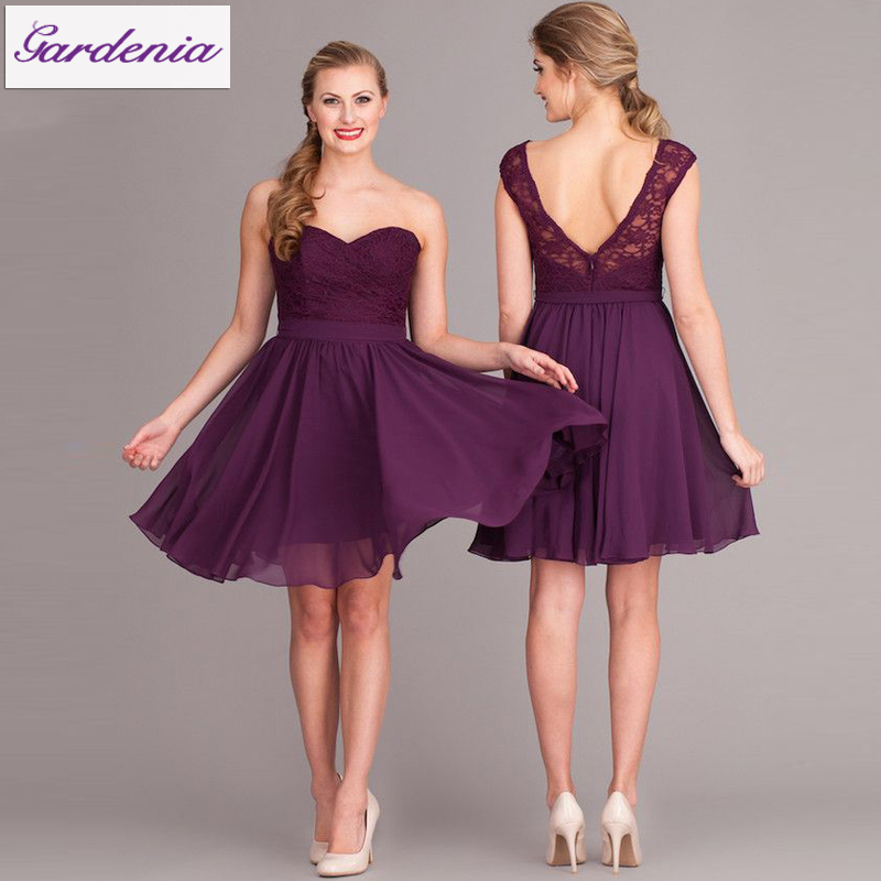 Wedding Guest Dresses Lace : Short wedding guest gowns lace chiffon royal purple bridesmaid dresses