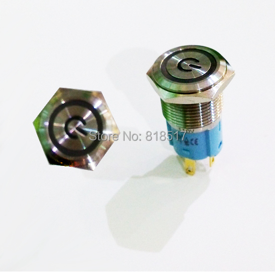 75Pcs 12V Blue LED 16mm Latching Push Button Metal Switch for Car Boat DIY ,stainless steel waterproof push button switch IP67(China (Mainland))
