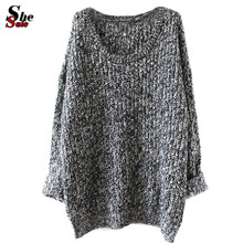 New 2016 Women's Clothes Tops Fashion Oversized Pullovers Casual Long Sleeve Jumpers Loose Knitted Pullover Sweater(China (Mainland))