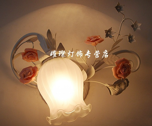 Free shippingEuropean pastoral bedroom lamp bedside lamp creative flower child study before the mirror wall sconce bathroom mirr(China (Mainland))