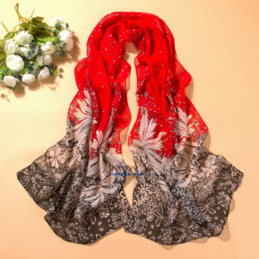 women scarf fashion pashmina 2014 new design long shawl cape silk chiffon tippet muffler echarpes Scarves PG-011(China (Mainland))