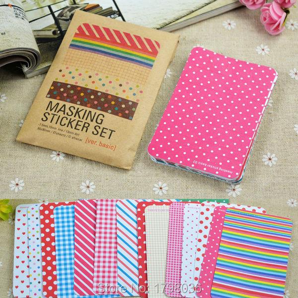 Scrapbooking Kit 27 PCS Washi Basic Version Masking Tape Craft Stickers Pack Decorative Labelling Art Adhesives(China (Mainland))