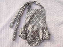 Bubble Rompers Grey Striped Floral Baby Rompers Satin Fabric Scarf Baby Girl KP-BUBR027(China (Mainland))