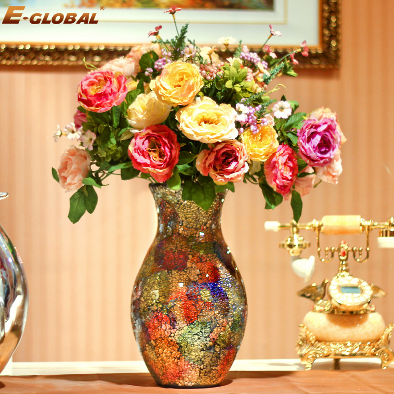 factory price different types glass vase Vintage glass mosaic trumpet vase , silver colored glass vases for centerpiece(China (Mainland))