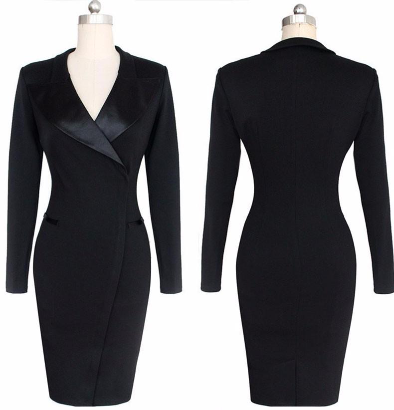 2016 Fashion Women Elegant Lapel Satin Turn-down Collar Zipper Wear to Work Business Sheath Solid Pencil Office Dress Plus Size
