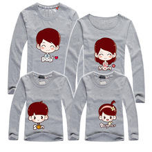 T Shirts Father and Son Women Clothing Matching family outfits Long sleeves t-shirts men mother daughter clothes o neck