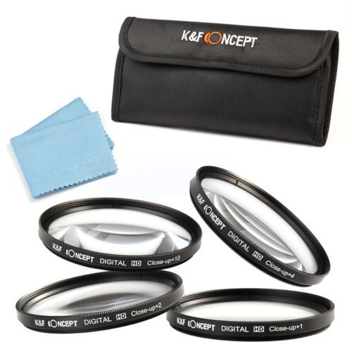 For Nikon Canon Sony Alpha DSLR 55mm Close Up Macro +1 +2 +4 +10 Lens Filter Kit Cleaning Cloth(China (Mainland))