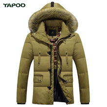 TAPOO Winter Down Coats With Fur Hood Men's Clothing Casual Jackets Thickening Parkas Male Coat Thick Warm Long Overcoat(China (Mainland))