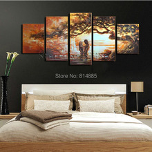 Young Lover  5pcs/set   Handmade Modern Abstract  Oil Painting On Canvas  Wall Art  Gift ,Christmas Indoor Decoration  JYJ094(China (Mainland))