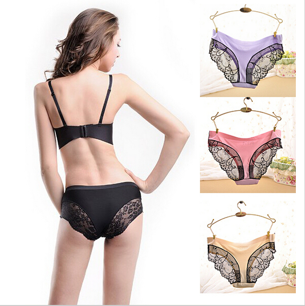 D170 Hot Fashion Fabric Ultra-thin Victoria Comfort Underwear 8 Color Lace Cotton Sexy Women Panties Seamless Vintage Underwear(China (Mainland))