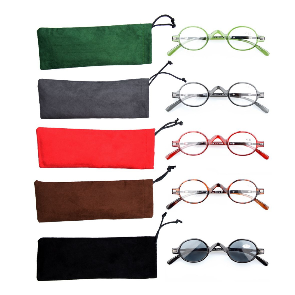 R077 Mix 5-pack Eyekepper Spring Temple Vintage Mini Small Oval Round Reading Glasses include Sun Readers +0.50---+4.00(China (Mainland))