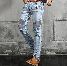 #2707 Slim Ripped jeans for men Fashion Casual Mens jean joggers Hip hop denim jeans Homme Biker jeans Skinny Brand dsq white(China (Mainland))